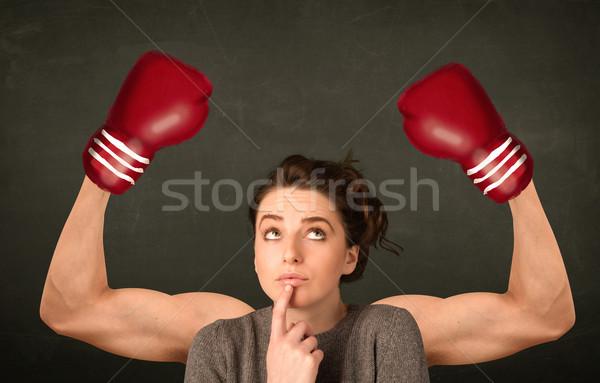Sterke bokser armen mooie jonge vrouw vrouw Stockfoto © ra2studio