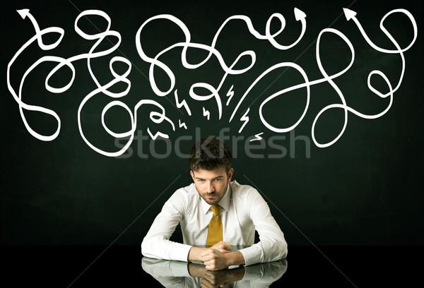 Deprimido empresario sesión dirección líneas Foto stock © ra2studio