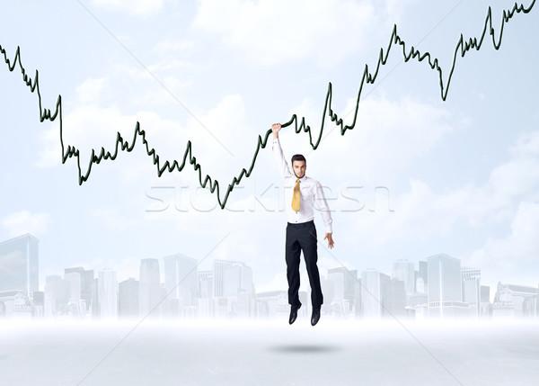 Opknoping zakenman grafiek touw ruimte helpen Stockfoto © ra2studio