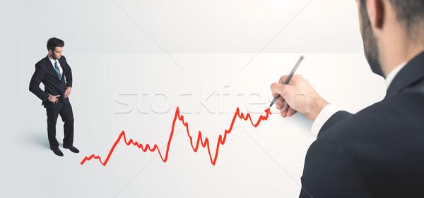 Foto stock: Empresário · olhando · linha · mão · empresário