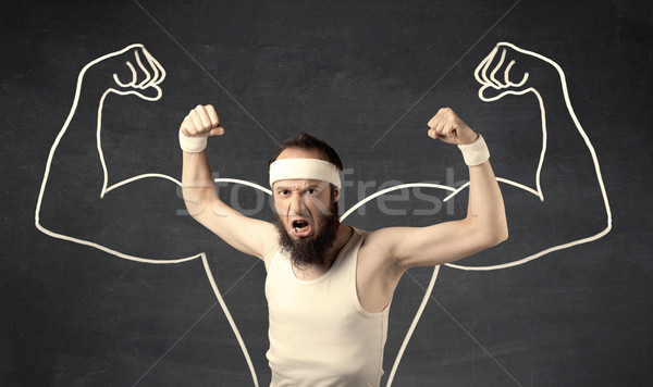 Fiatal gyenge férfi rajzolt izmok férfi Stock fotó © ra2studio