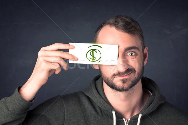 Facet papieru znak dolara zielone Zdjęcia stock © ra2studio
