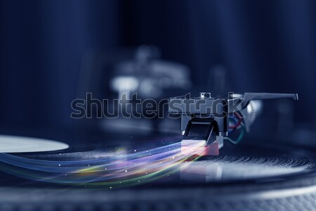 Stock photo: Turntable playing music with hand drawn cross lines