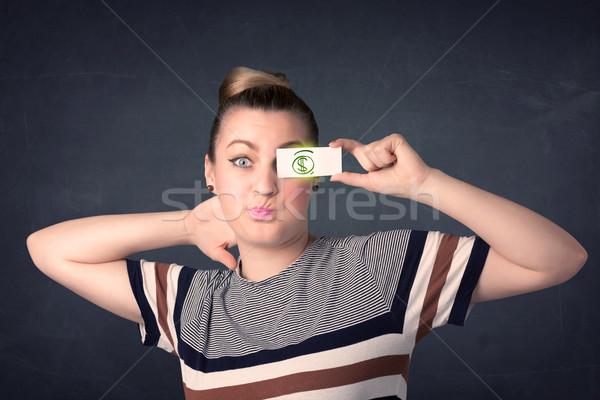 Genç kız kâğıt yeşil dolar işareti iş Stok fotoğraf © ra2studio
