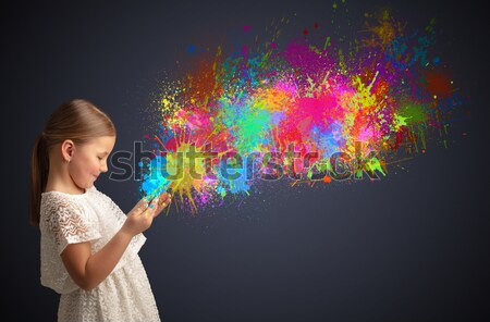 Stock photo: Young woman with energetic exploding red hair