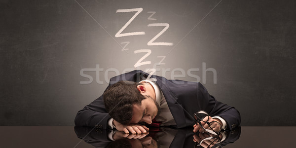 Businessman fell asleep at the office Stock photo © ra2studio