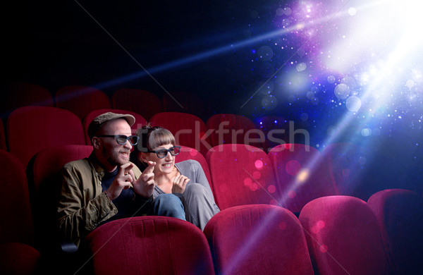 Stock photo: Romantic couple sitting at spectacle
