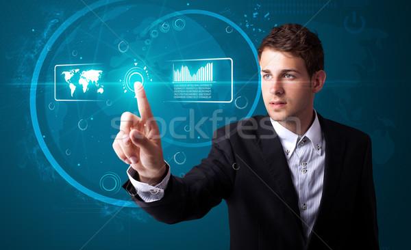 üzletember kisajtolás magas tech modern Stock fotó © ra2studio