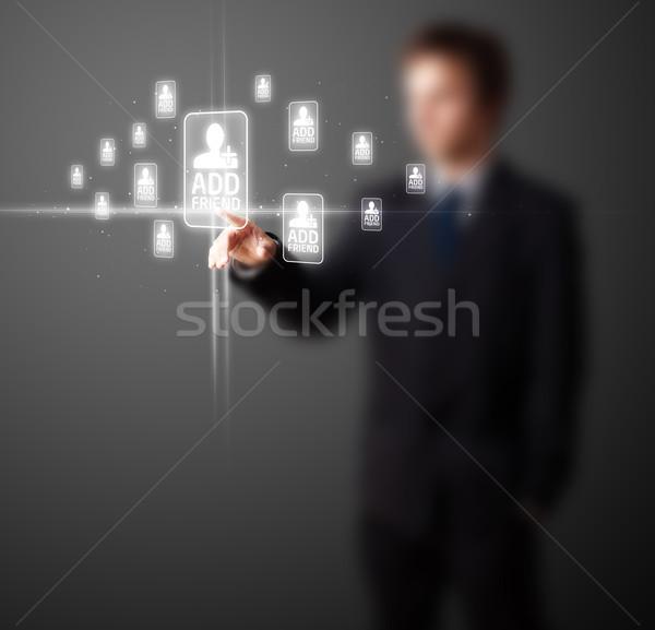 Işadamı modern sosyal tip simgeler Stok fotoğraf © ra2studio