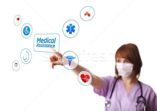 Nő orvos kisajtolás digitális gomb szelektív fókusz Stock fotó © ra2studio