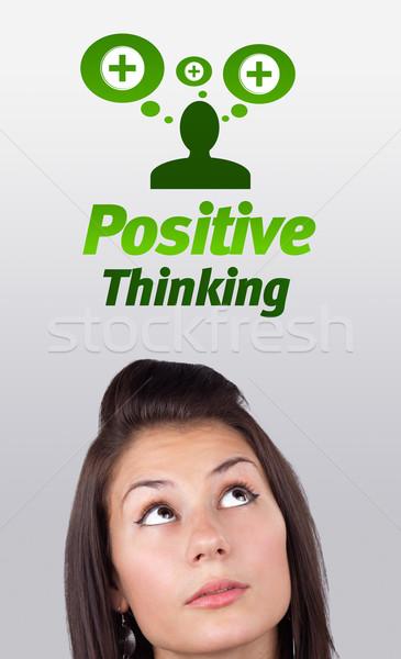 глядя положительный негативных признаков голову Сток-фото © ra2studio