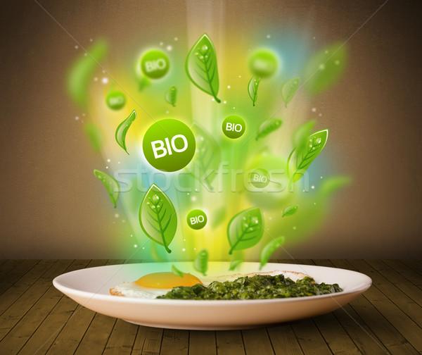 Saludable bio verde placa alimentos sucio Foto stock © ra2studio