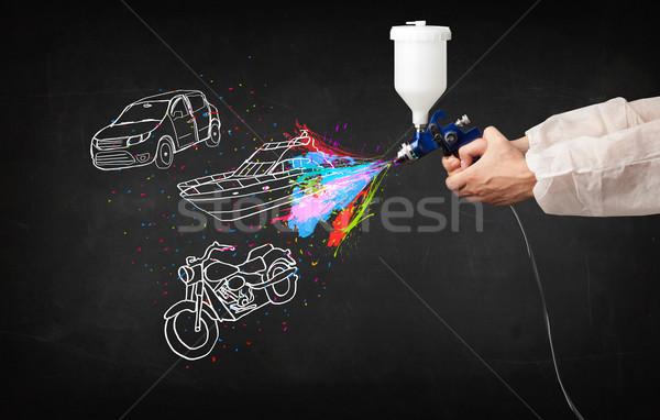 Férfi festékszóró autó csónak motorkerékpár rajz Stock fotó © ra2studio