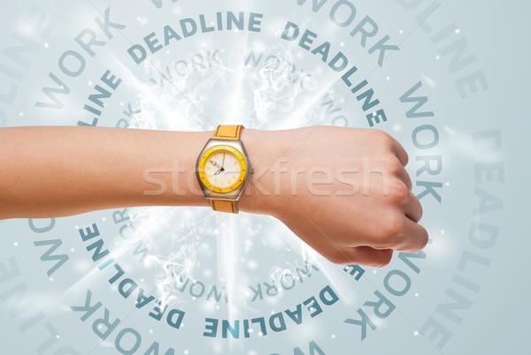 Horloges travaux date limite écrit réunion affaires Photo stock © ra2studio