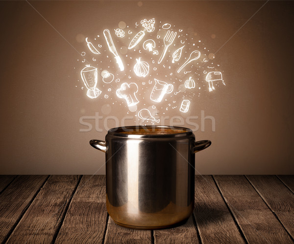 cooking icons coming out from cooking pot Stock photo © ra2studio