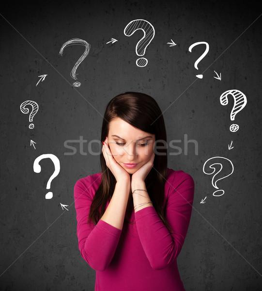 Pensando signo de interrogación alrededor Foto stock © ra2studio