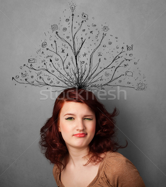 Stock photo: Young woman with tangled lines coming out of her head