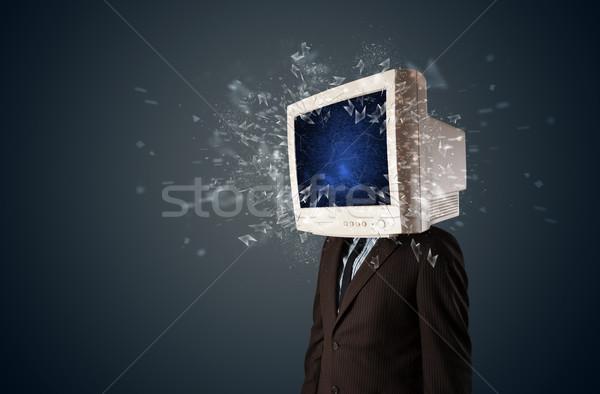 Scherm jonge hoofd computer Stockfoto © ra2studio