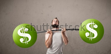 Magro ragazzo verde simbolo del dollaro pesi Foto d'archivio © ra2studio