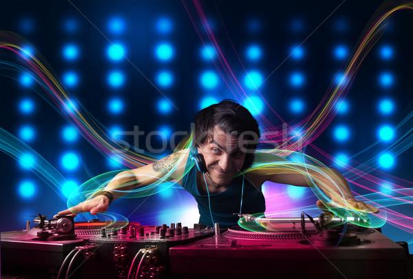 Młodych rekordy kolorowy światła atrakcyjny strony Zdjęcia stock © ra2studio
