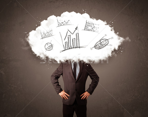 Elegant business man cloud head with hand drawn graphs Stock photo © ra2studio