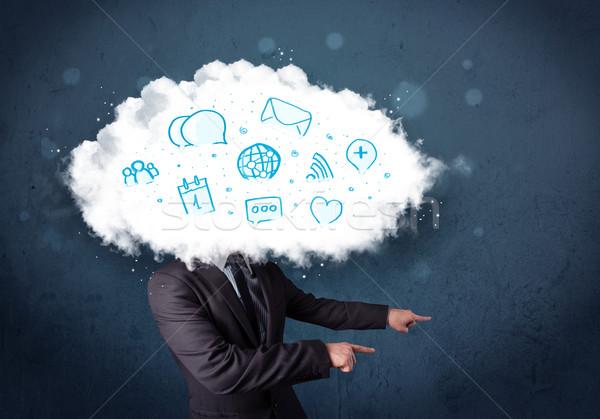 Férfi öltöny felhő fej kék ikonok Stock fotó © ra2studio