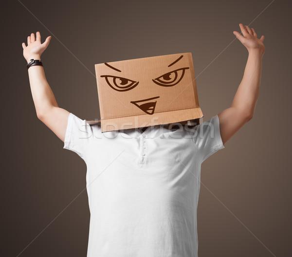 Stockfoto: Jonge · man · hoofd · kwaad · permanente