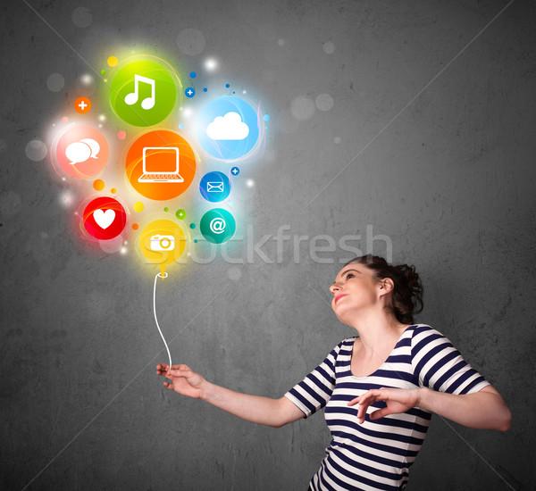 Vrouw social media ballon mooie jonge vrouw Stockfoto © ra2studio