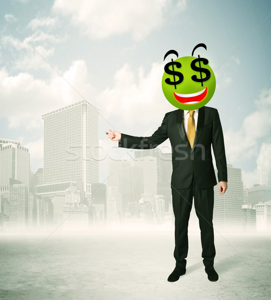 man with dollar sign smiley face stock photo © Rancz ...