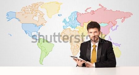Stockfoto: Zakenman · kleurrijk · wereldkaart · zakenman · vergadering · witte