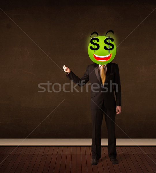 Homem cifrão rosto sorridente empresário negócio feliz Foto stock © ra2studio