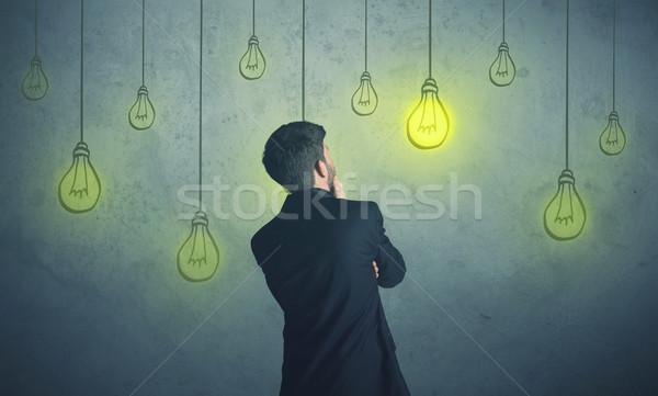 Сток-фото: подвесной · освещение · бизнесмен · деньги · свет · технологий