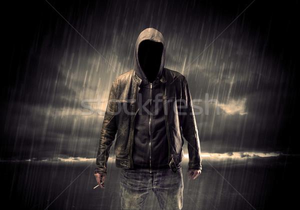 Anonim terrorista éjszaka tolvaj felismerhetetlen áll Stock fotó © ra2studio