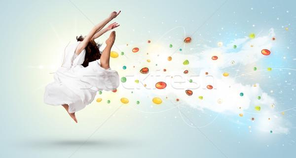 美人 ジャンプ カラフル 少女 ストックフォト © ra2studio