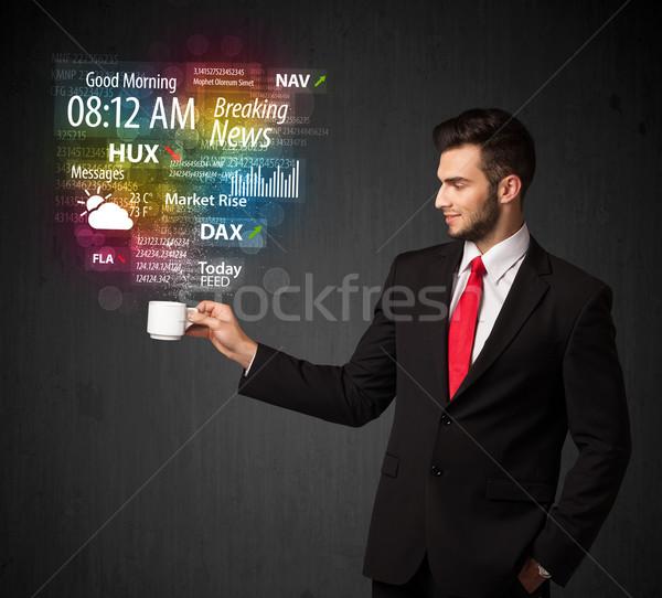 ビジネスマン 白 カップ 日々 ニュース ストックフォト © ra2studio