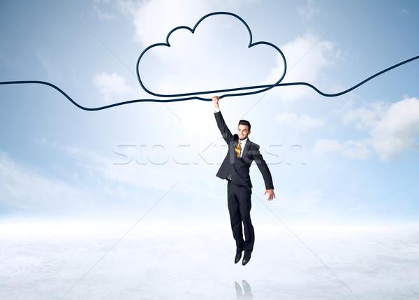 Akasztás üzletember felhő kötél kéz segítség Stock fotó © ra2studio