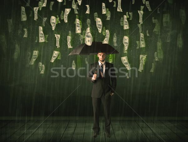 üzletember áll esernyő dollár számla eső Stock fotó © ra2studio
