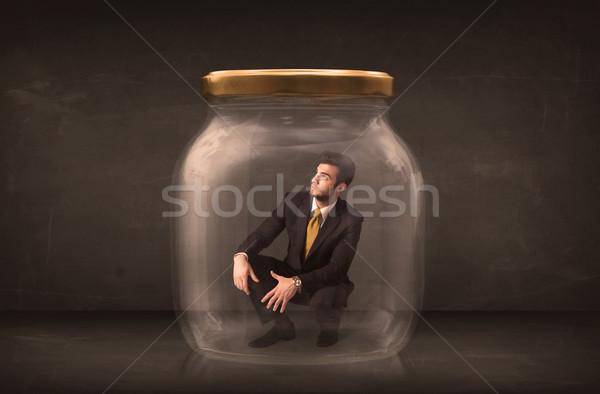 Biznesmen zamknięty szkła jar pracy finansów Zdjęcia stock © ra2studio