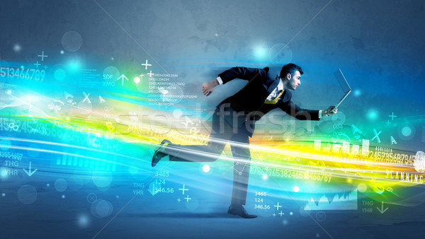 Business man running in high tech wave concept Stock photo © ra2studio