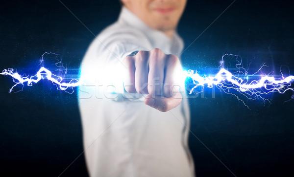 üzletember tart elektromosság fény csavar kezek Stock fotó © ra2studio
