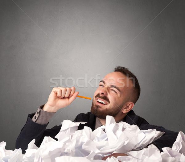 бизнесмен за бумаги молодые сидят серый Сток-фото © ra2studio