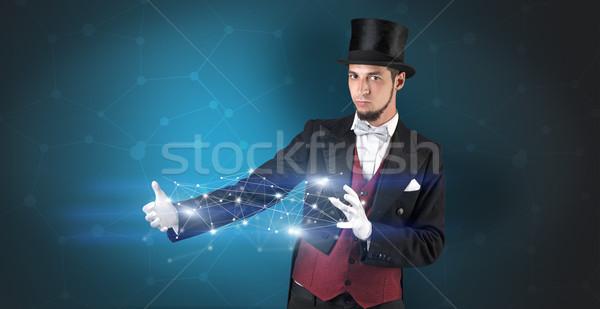 Mágico geométrico conexão mão azul dois Foto stock © ra2studio