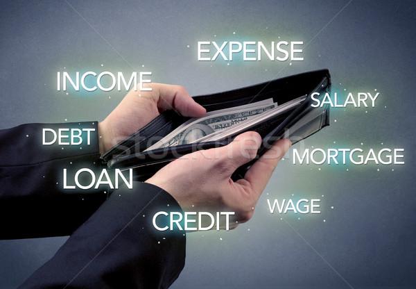 бизнесмен стороны из деньги бумажник доллара Сток-фото © ra2studio