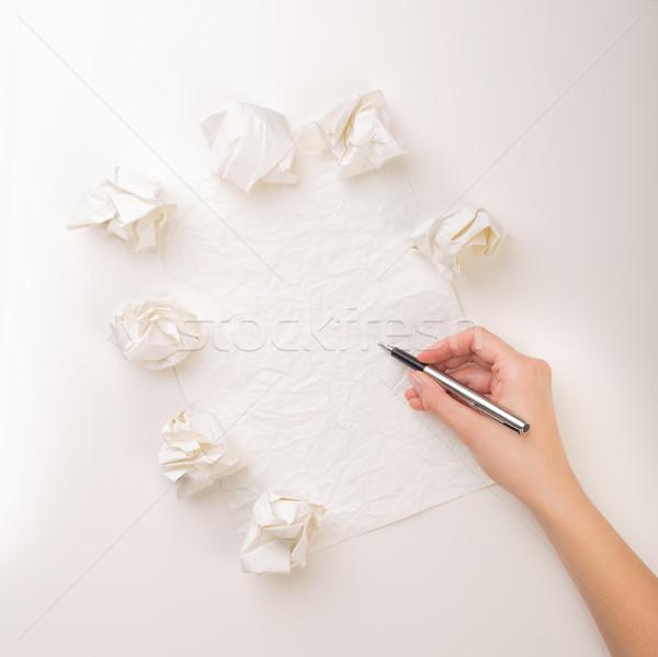 Yazı el kâğıt kadın yazmak az Stok fotoğraf © ra2studio