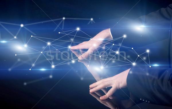Kezek megérint interaktív asztal férfi kék Stock fotó © ra2studio