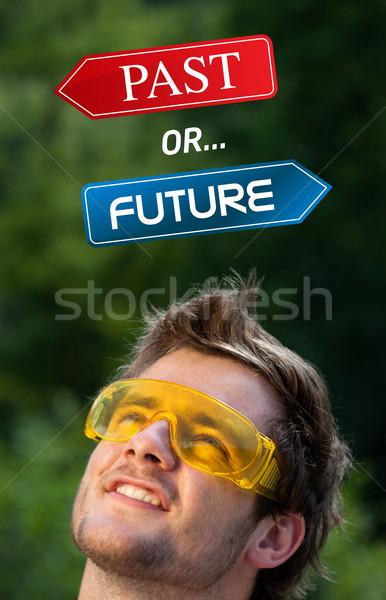 Jonge hoofd naar positief negatieve borden Stockfoto © ra2studio