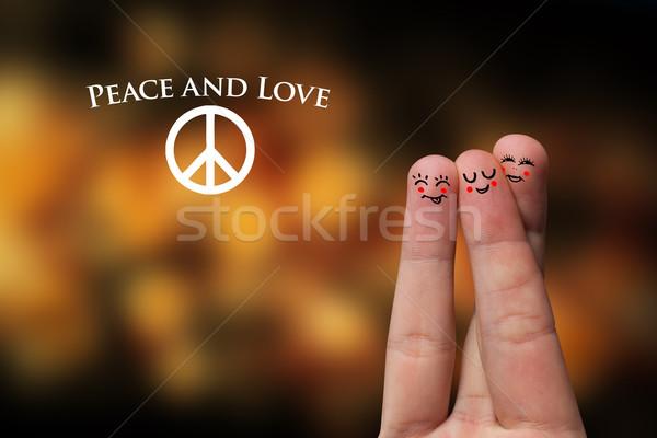 Festett ujj emotikon béke szeretet kéz Stock fotó © ra2studio