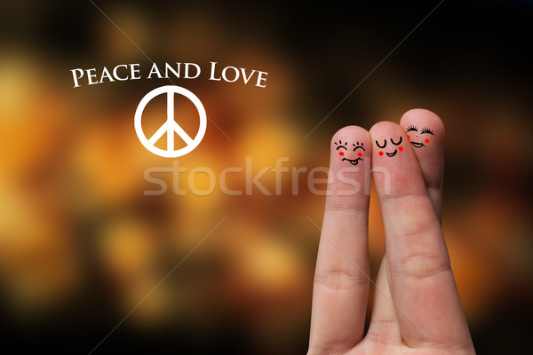 Painted finger smiley Stock photo © ra2studio
