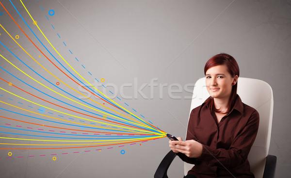 Niña feliz teléfono colorido resumen líneas Foto stock © ra2studio