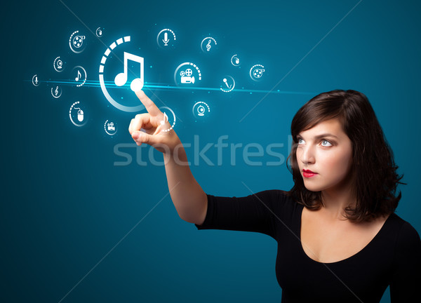 üzletasszony kisajtolás virtuális média gombok Stock fotó © ra2studio